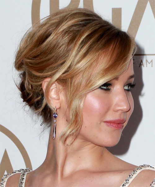 Jennifer Lawrence Medium Wavy Casual Updo Hairstyle - Light Brunette (Caramel) Hair Color - side view