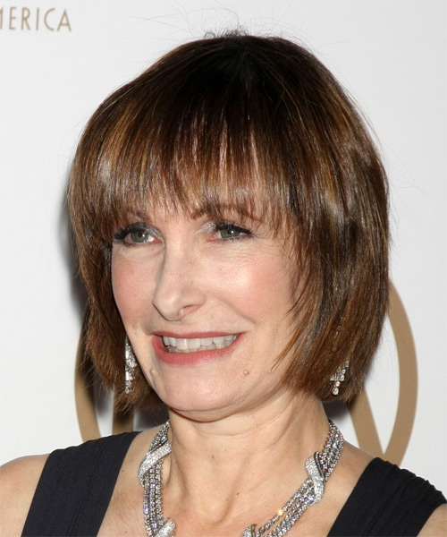 Gale Anne Hurd Medium Straight Casual Hairstyle with Blunt Cut Bangs - Medium Brunette Hair Color - side view