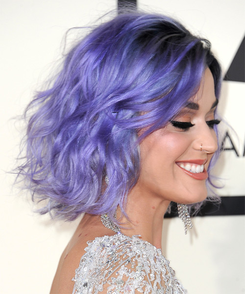 Katy Perry Medium Wavy Hairstyle - Purple - side view