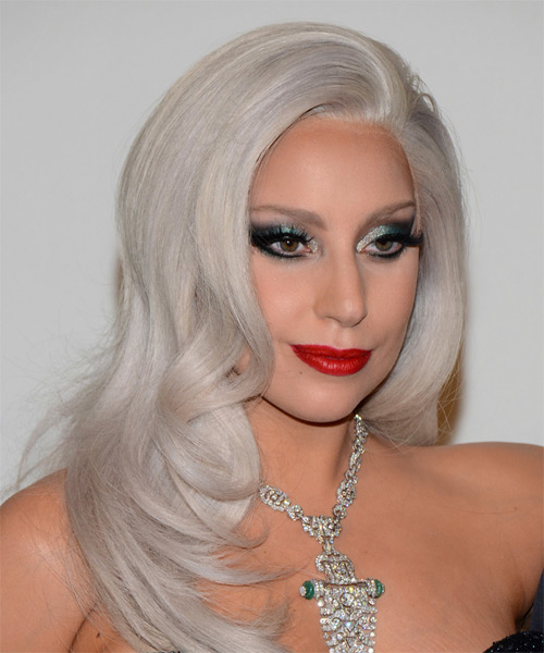 Lady GaGa Long Straight Formal  - Light Grey - side view