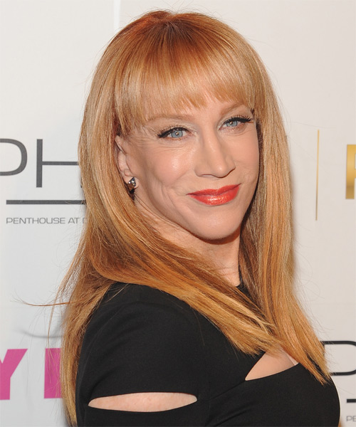 Kathy Griffin Long Straight Formal  with Blunt Cut Bangs - Light Red (Ginger) - side view