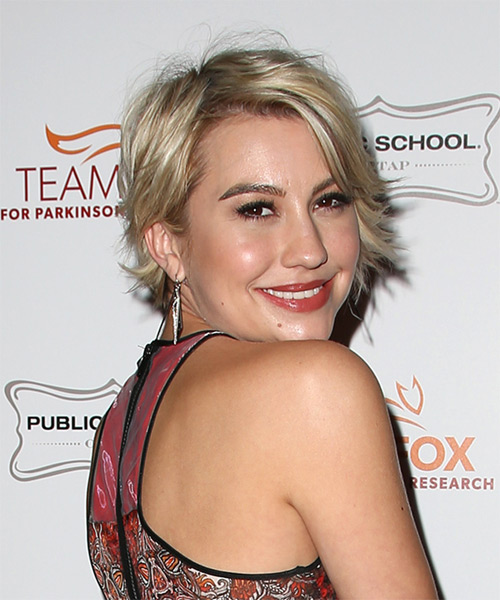 Chelsea Kane Short Straight Casual  with Side Swept Bangs - Medium Blonde - side view