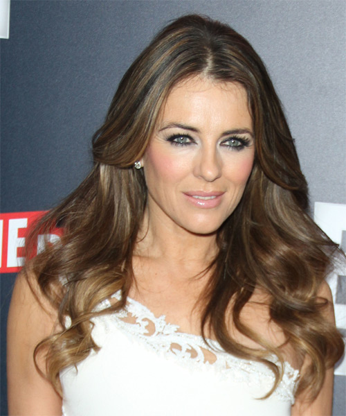 Elizabeth Hurley Long Wavy Casual  - Medium Brunette - side view