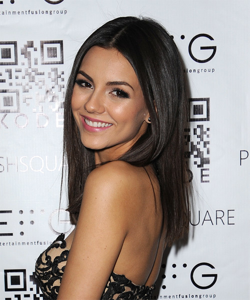 Victoria Justice Long Straight Formal  (Mocha) - side view