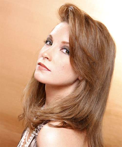 Long Straight Casual Hairstyle - Light Brunette Hair Color - side view