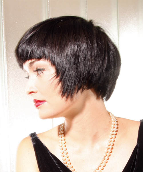 Short Straight Casual Hairstyle - Dark Brunette Hair Color - side view