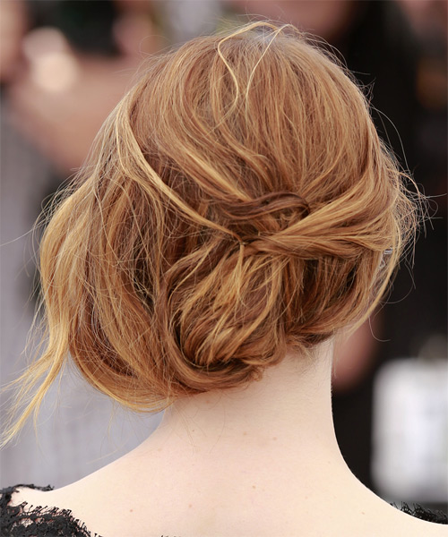Emma Stone Long Wavy Formal Wedding - Medium Red - side view