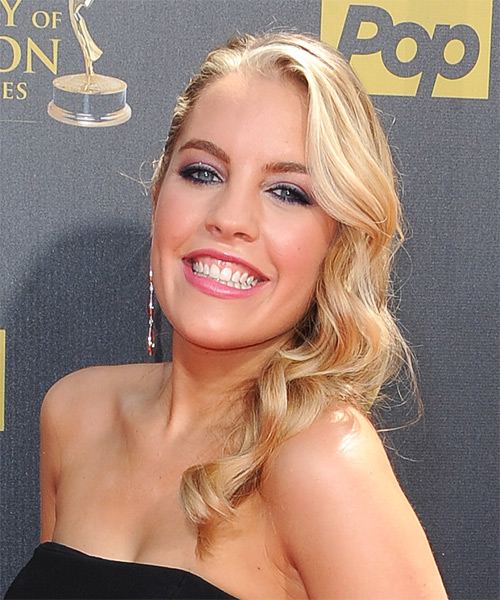 Kristen Alderson Long Wavy Formal Hairstyle - Medium Blonde (Golden) Hair Color - side view