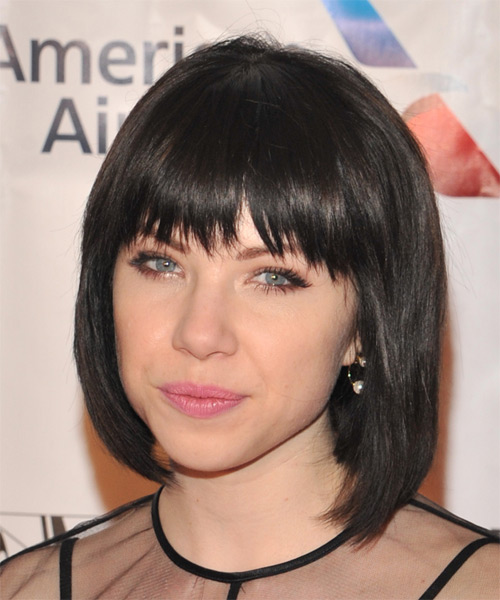 Carly Rae Jepsen Medium Straight Casual Bob Hairstyle with Razor Cut Bangs - Dark Brunette (Mocha) Hair Color - side view