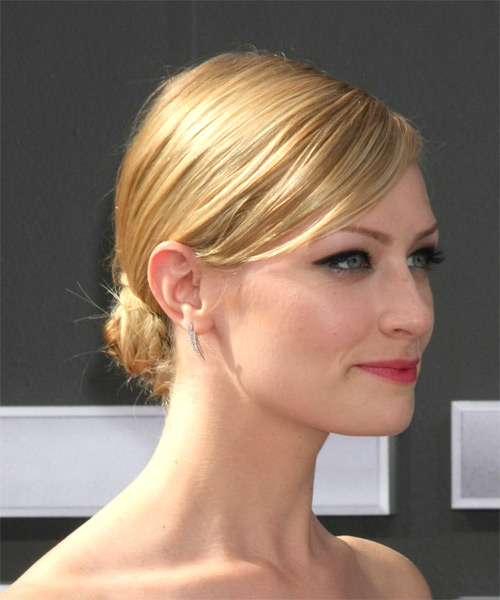Beth Behrs Long Straight Formal Updo Hairstyle - Medium Blonde (Golden) Hair Color - side view