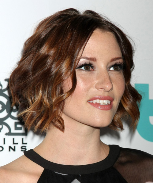 Chyler Leigh Medium Wavy Formal  - Dark Brunette - side view