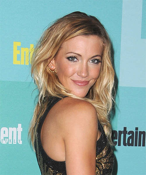 Katie Cassidy Long Wavy Casual  - Dark Blonde (Golden) - side view