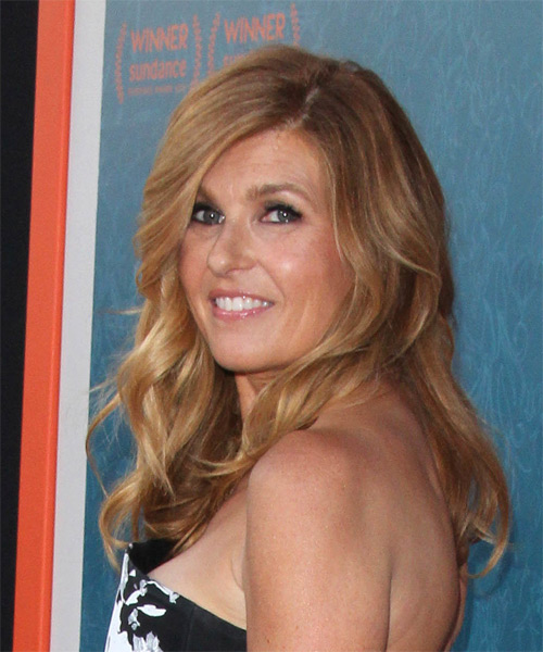 Connie Britton Long Wavy Formal  with Side Swept Bangs - Light Red (Copper) - side view