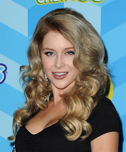 Renee Olstead Long Wavy Formal Hairstyle - Medium Blonde Hair Color - side view