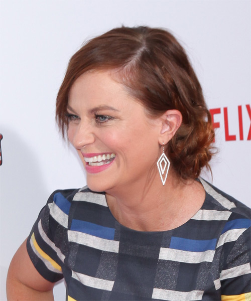Amy Poehler Medium Straight Casual  with Side Swept Bangs - Medium Brunette (Auburn) - side view