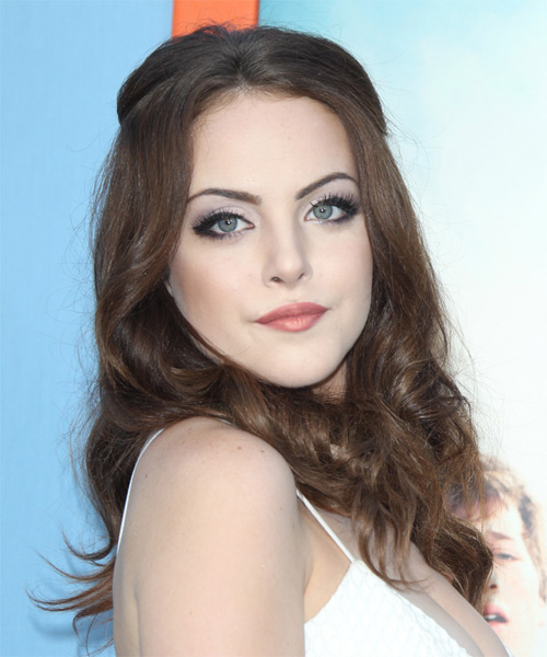 Elizabeth Gillies Long Wavy Casual  - Medium Brunette (Chocolate) - side view