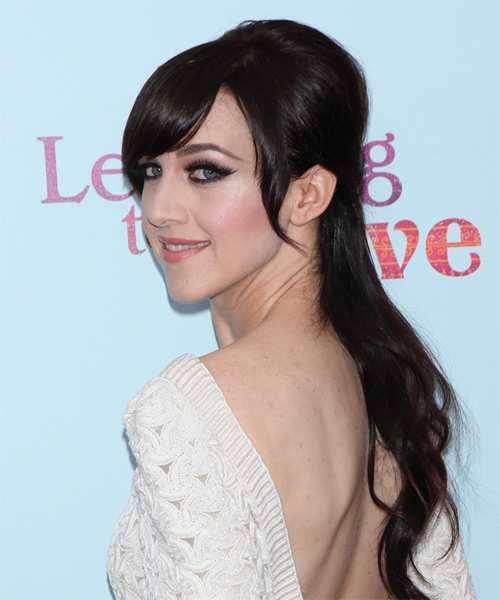 Lena Hall Long Straight Formal Half Up Hairstyle with Side Swept Bangs - Dark Brunette (Mocha) Hair Color - side view