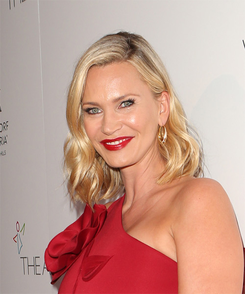 Natasha Henstridge Medium Wavy Formal Hairstyle - Medium Blonde (Golden) Hair Color - side view