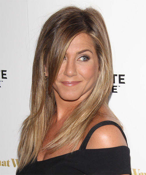 Jennifer Aniston Long Straight Casual Hairstyle with Side Swept Bangs - Light Brunette (Caramel) Hair Color - side view