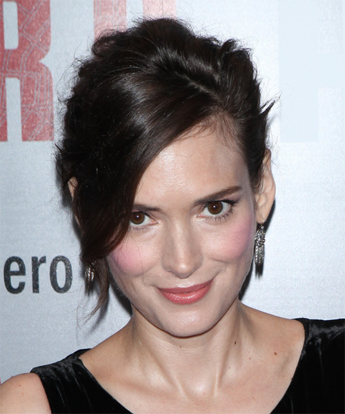 Winona Ryder Long Straight Casual Wedding Updo with Side Swept Bangs - Dark Brunette - side view