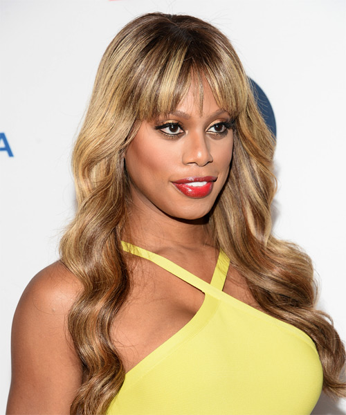 Laverne Cox Long Wavy Formal  with Layered Bangs - Light Brunette (Caramel) - side view