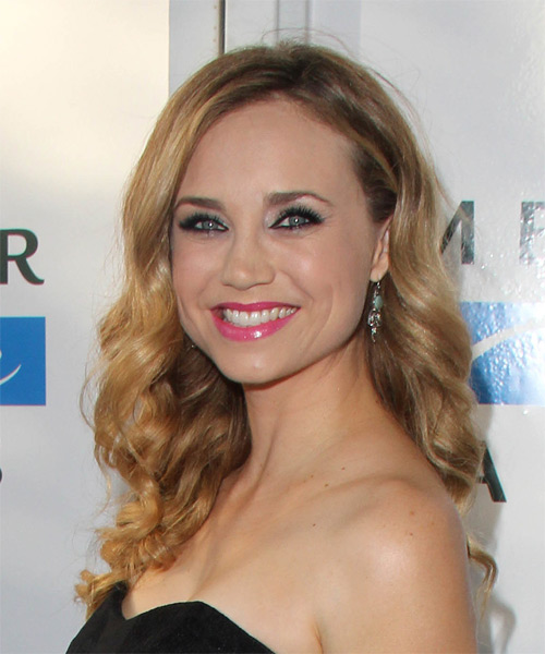 Fiona Gubelmann Long Wavy Formal Hairstyle - Dark Blonde Hair Color - side view