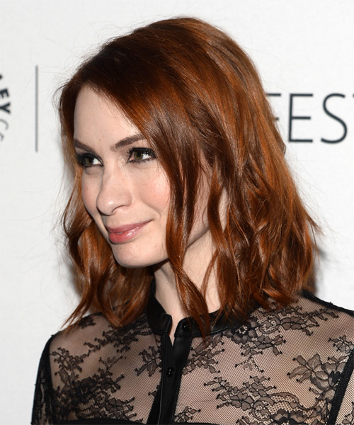 Felicia Day Medium Wavy Casual  - Medium Red - side view