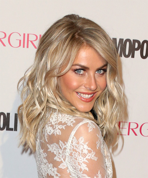 Julianne Hough Long Wavy Formal Hairstyle - Medium Blonde (Champagne) - side view
