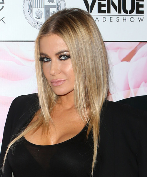 Carmen Electra Medium Straight Casual Hairstyle - Medium Blonde Hair Color - side view