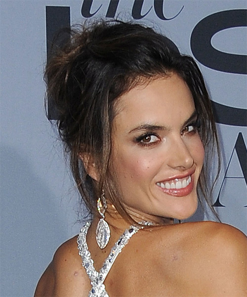 Alessandra Ambrosio Long Straight Casual Updo Hairstyle - side view