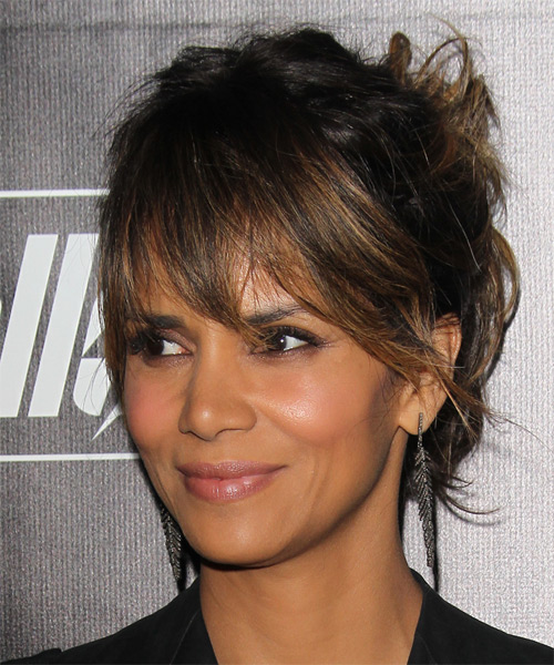 Halle Berry Long Straight Casual Updo Hairstyle with Layered Bangs - side view