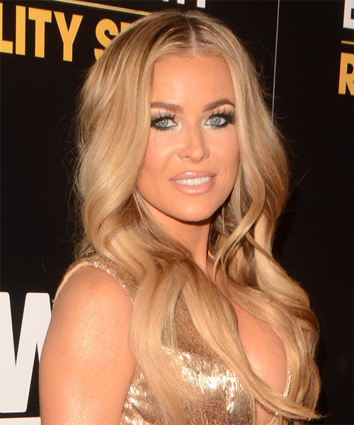 Carmen Electra Long Wavy Formal Hairstyle - Medium Blonde (Honey) Hair Color - side view