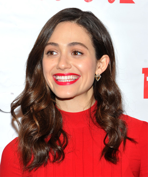 Emmy Rossum Long Wavy Casual Hairstyle (Chocolate) - side view