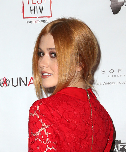 Katherine McNamara Long Straight Formal Wedding - Light Red (Copper) - side view