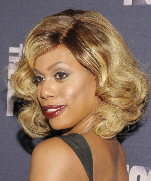 Laverne Cox Medium Wavy Formal  - Light Brunette (Caramel) - side view