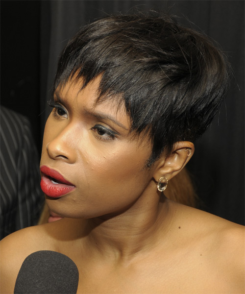 Jennifer Hudson Short Straight Pixie Hairstyle - side view