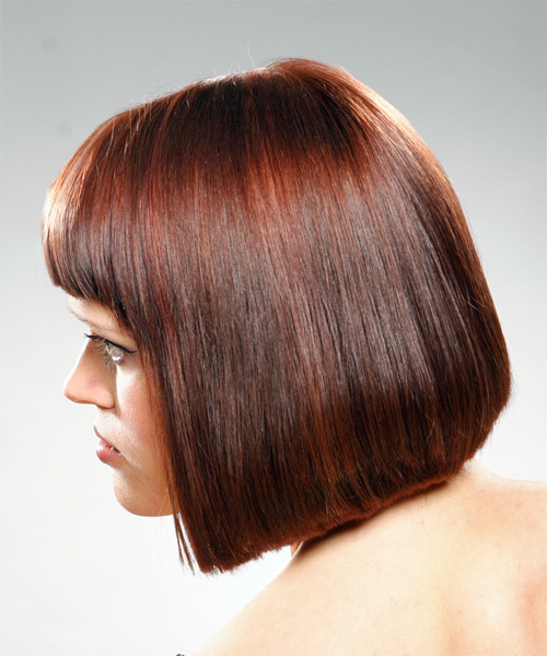 Medium Straight Casual Bob Hairstyle with Blunt Cut Bangs - Medium Brunette (Mahogany) Hair Color - side view
