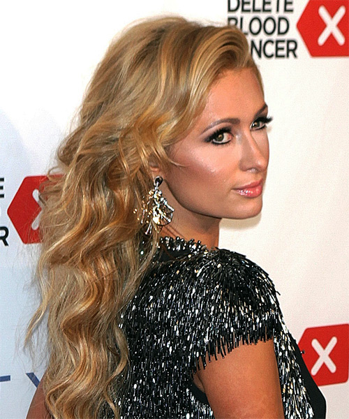 Paris Hilton Long Wavy Formal  - Medium Blonde (Honey) - side view