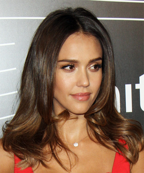 Jessica Alba Long Wavy Formal  - Black - side view