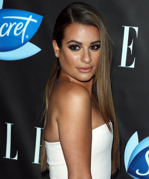 Lea Michele Long Straight Formal - side view