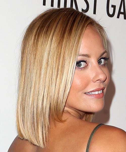 Amy Paffrath Medium Straight Formal Bob Hairstyle - Light Blonde (Champagne) Hair Color - side view