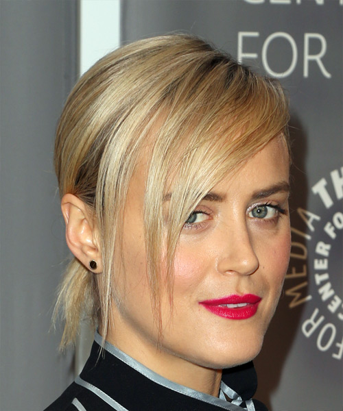 Taylor Schilling Medium Wavy Casual Updo Hairstyle with Side Swept Bangs - Light Blonde Hair Color - side view