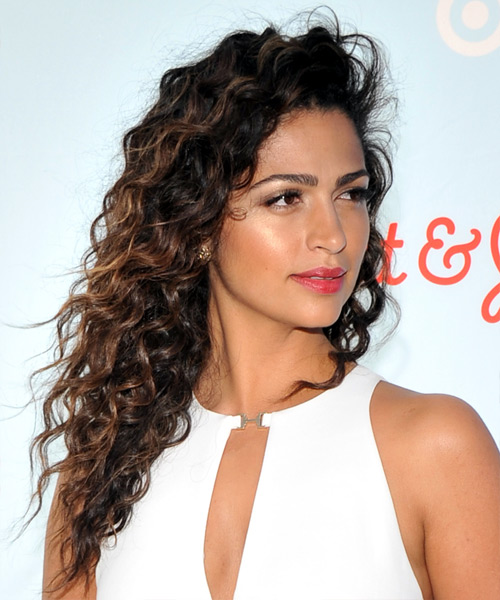 Camila Alves Long Curly Casual Hairstyle - Dark Brunette Hair Color - side view