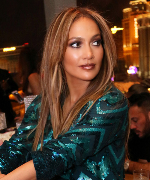 Jennifer Lopez Long Straight Formal Hairstyle - Dark Blonde Hair Color - side view