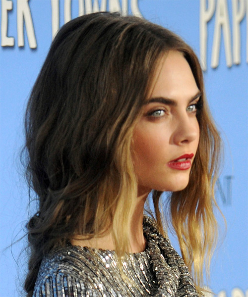 Cara Delevingne Medium Wavy Hairstyle - Dark Blonde - side view