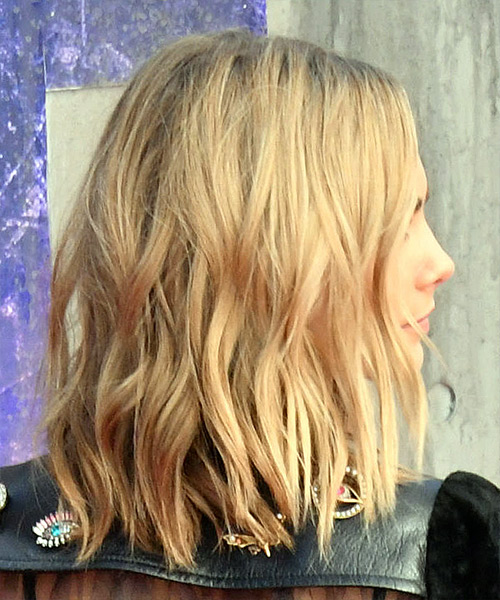 Cara Delevingne Medium Wavy Casual Bob - Light Blonde - side view