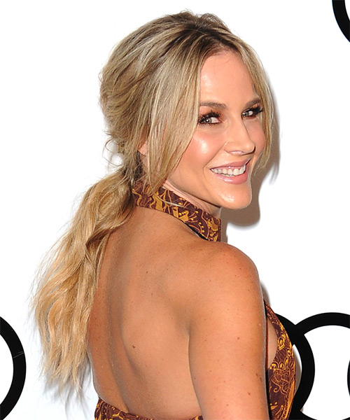 Julie benz casual straight updo hairstyle light blonde side view