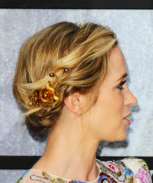 Emily Blunt Casual Wavy Updo Hairstyle - Medium Blonde - side view