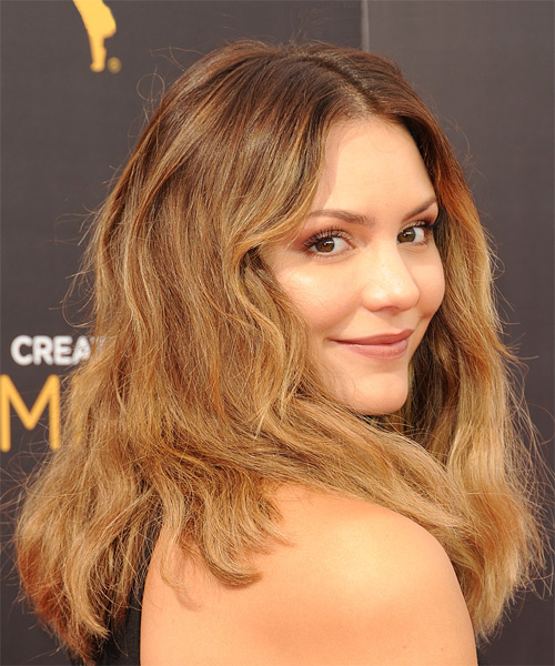 Katharine McPhee Long Wavy Casual Bob Hairstyle - Medium Blonde (Golden) Hair Color - side view