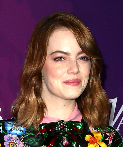 Emma Stone Medium Wavy Casual Bob Hairstyle with Side Swept Bangs - Dark Red (Copper) Hair Color - side view